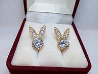 110 грн Позолочені сережки бвелирный сплав 18К з кристалами BG36 - (кільця, барслеты,ланцюжки, прикраси,подарунки)