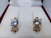 85 грн Позолоченные серьги  колечки большой кристал с лепестками BG37  - (кольца, барслеты,цепочки, украшения,подарки)