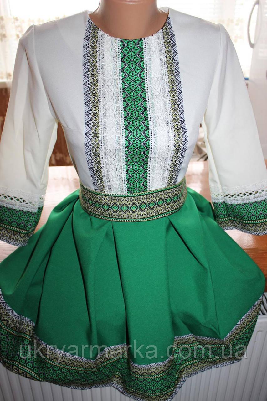 """Вишите жіноче плаття """"Олена"""" зелене"""