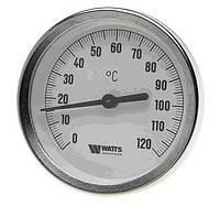 """Термометр биметаллический 1/2""""  Watts ф63/120  (Германия) с гильзой 50мм"""