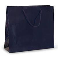Бумажный ламинированный пакет 42х13х37 синий с ручками