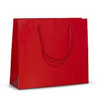Бумажный ламинированный пакет 32х10х27 красный с ручками