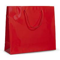 Бумажный ламинированный пакет 42х13х37 красный с ручками