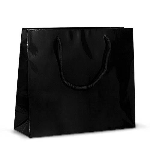 Бумажный ламинированный пакет 32х10х27 чёрный с ручками