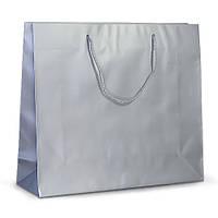 Бумажный ламинированный пакет 42х13х37 серебристый с ручками