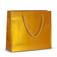 Бумажный ламинированный пакет 32х10х27 золотистый с ручками