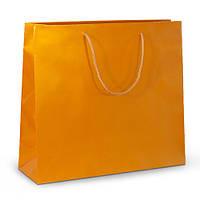 Бумажный ламинированный пакет 42х13х37 золотистый с ручками
