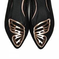 Необычные женские балетки замшевые черные Бабочка
