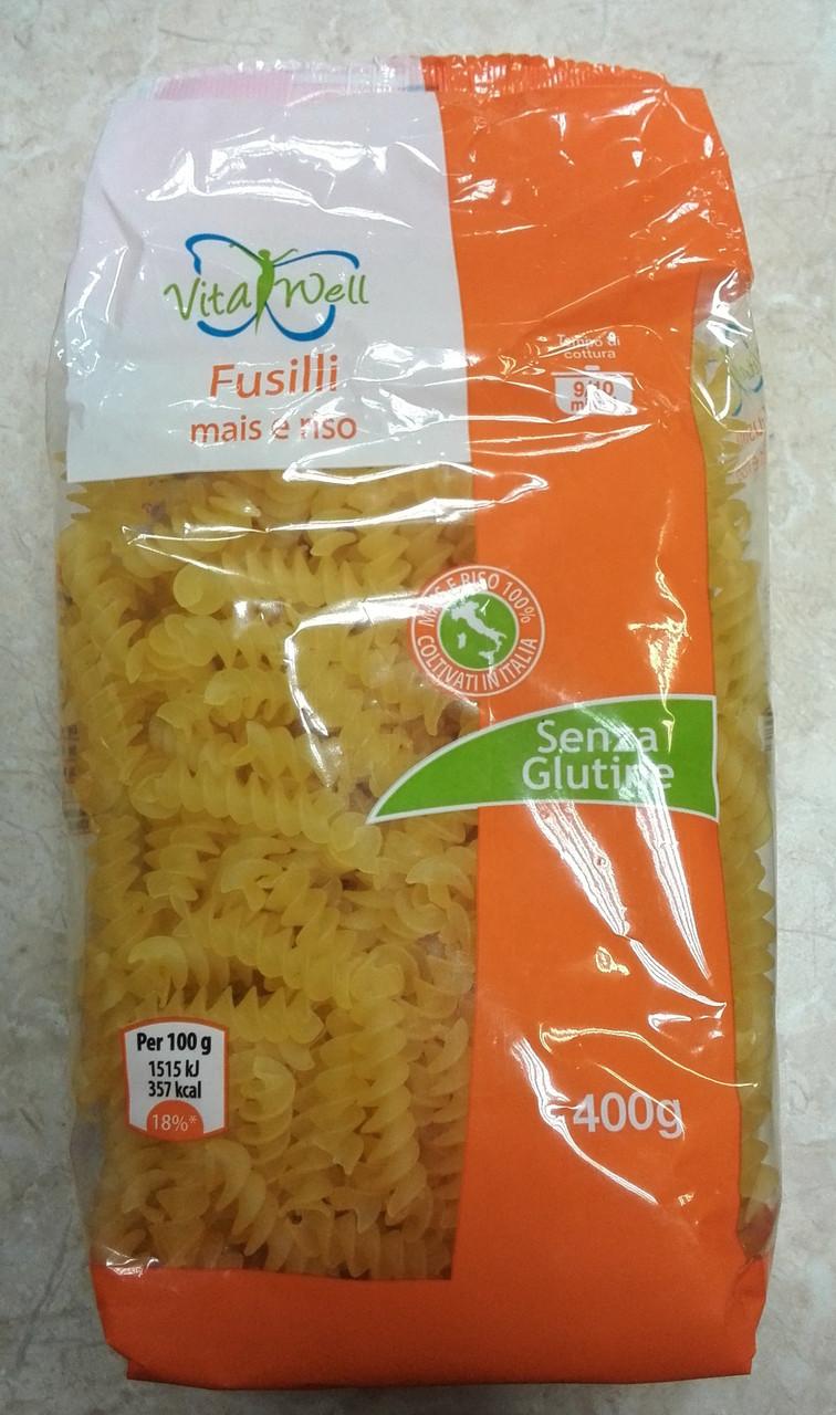 Безглютеновые макароны из кукурузной и рисовой муки Vita Well Fusilli, 400 г.