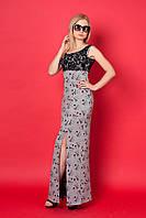 Длинное вечернее платье с гипюром, трикотаж двунитка, с разрезом, 44-50 размер
