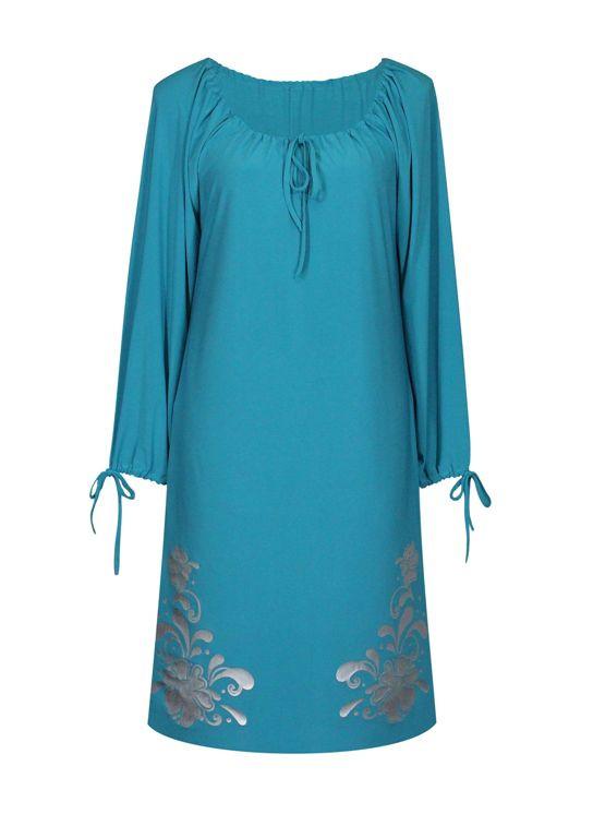 Платье свободного кроя с длинным рукавом Барвинок