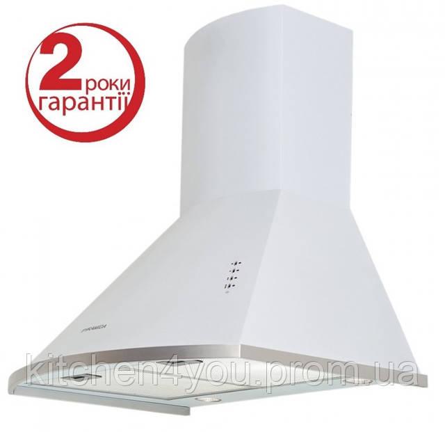 Pyramida KM 60 white (600 мм.) купольная кухонная вытяжка, цвет белая эмаль