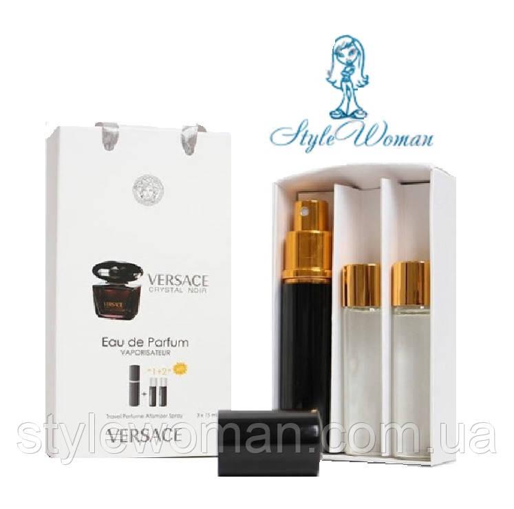 Набор мини парфюмерии Versace Crystal Noir Версачи Кристал Ноир с феромонами3*15мл Реплика