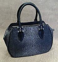 Кожаная сумка женская экстравагантная черная с белым (Турция)