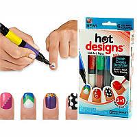 Набор для дизайна и росписи ногтей Hot Designs Nail Art Pens 2 в 1 кисть и карандаш
