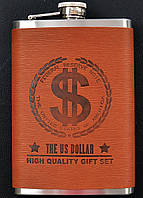 Фляга металлическая обтянутая кожей Доллар 9oz (10421)