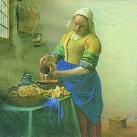 "Салфетки для декупажа ""Доярка"" 33*33 см (Вермеер «Молочница») №165"