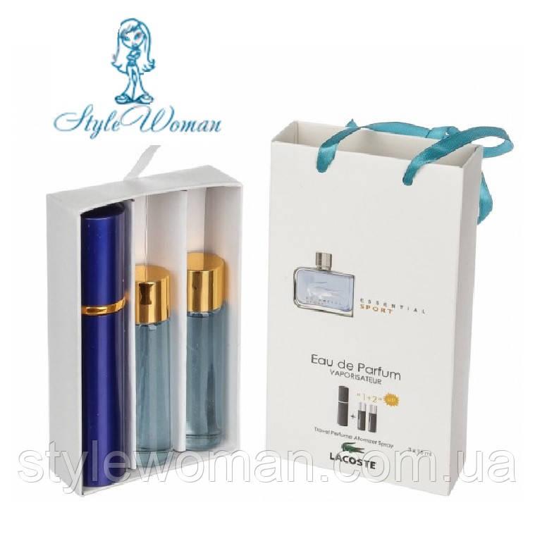 Набор мужской мини парфюмерии  Лакост Эссенциал Спорт Пу с феромонами3*15мл Реплика