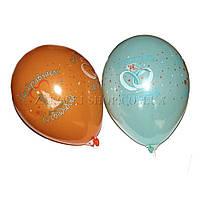 Воздушные шары Gemar GD90, расцветка: Пастель, C Днем Свадьбы, Диаметр 26 см, 100 шт.
