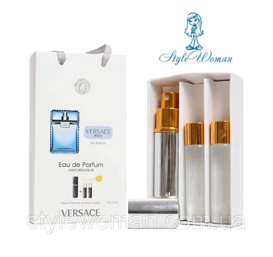Набор мужской мини парфюмерии Versace Man eau Fraiche Версаче Мен Фреш с феромонами3*15мл Реплика