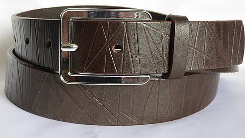 """Кожаный ремень унисекс """"Февраль"""" Svetlana Zubko ДхШ: 125х3,5 см. коричневый A35202"""