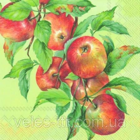 """Салфетки для декупажа """"Яблочный урожай"""" зеленый 33*33 см №258"""
