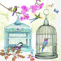 """Салфетки для декупажа """"Птички в клетке"""" 33*33 см №179"""