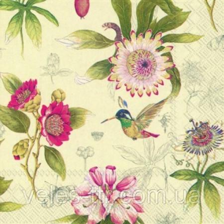 """Салфетки для декупажа """"Мелкие цветы"""" кремовый 33*33 см №61"""