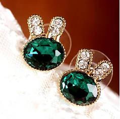 Сережки - гвоздики Bunny Smaragd