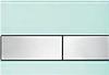 Панель смыва ТЕСЕsquare зеленое стекло, клавиши нерж.сталь