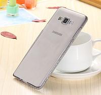 Силиконовый серый чехол с камнями Сваровски для Samsung Galaxy A7