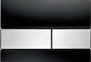 Панель смыва ТЕСЕsquare черное стекло, клавиши нерж.сталь, фото 1