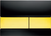 Панель смыва ТЕСЕsquare черное стекло, клавиши позолоч., фото 1