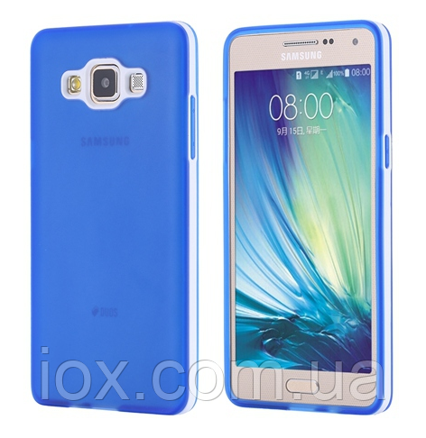 Силиконовый синий двойной чехол с бампером для Samsung Galaxy A5