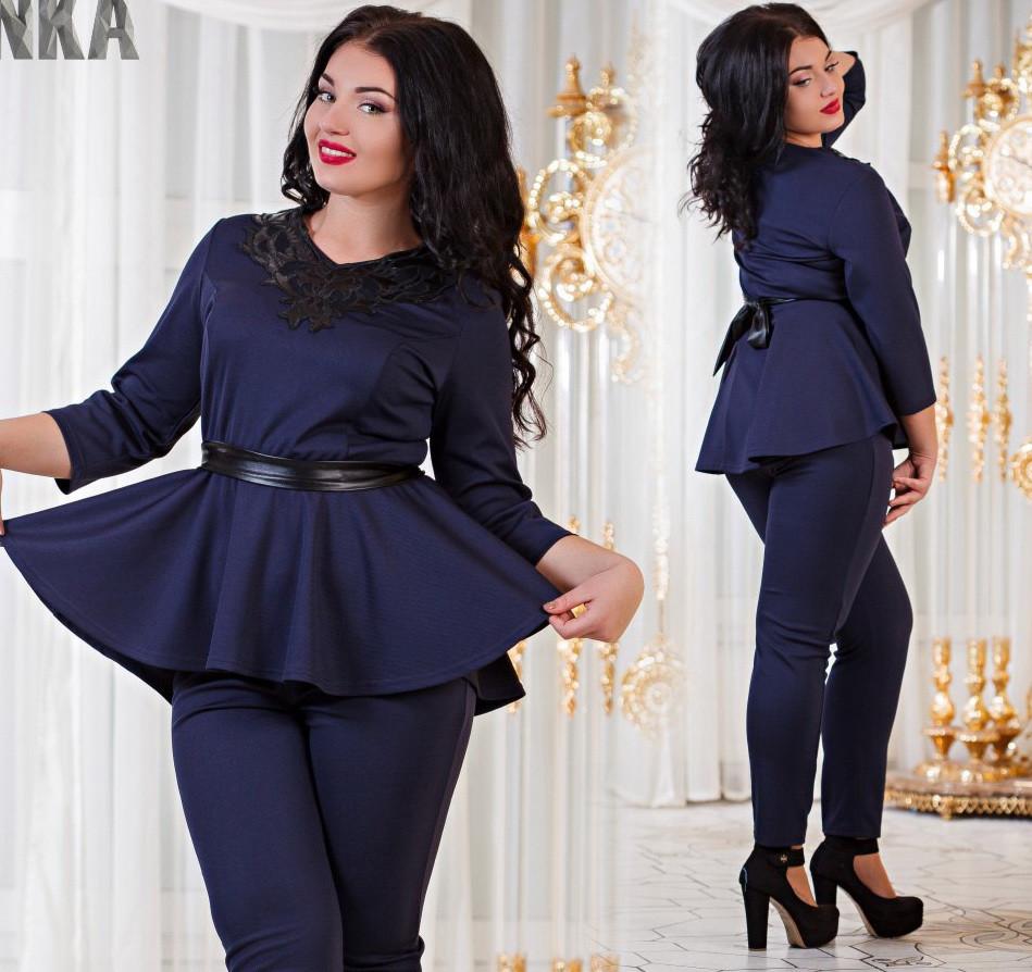 3839bc81819 Женский костюм баска +штаны темно-синего цвета. Ткань кукуруза. Размеры 50-