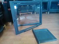 Застекленная каминная дверца с зольником-VVK (600 х 490 мм)