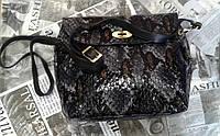 Кожаная женская сумка-клатч синяя лаковая под рептилию фирмы Desisan