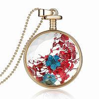 Подвеска цветы в круге красно-синий flower glass