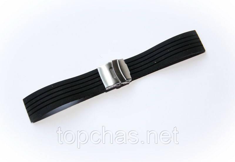 Ремешок каучуковый Nobrand для наручных часов с застежкой фиксатором, черный, 24 мм