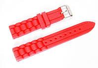 Ремешок каучуковый для наручных часов Geneva с классической застежкой, красный, 18 мм