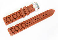 Ремешок каучуковый для наручных часов Geneva с классической застежкой, коричневый, 18 мм