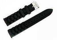 Ремешок каучуковый для наручных часов Geneva с классической застежкой, черный, 18 мм