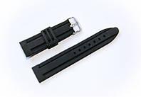 Ремешок каучуковый Nobrand для наручных часов с классической застежкой, черный, 22 мм