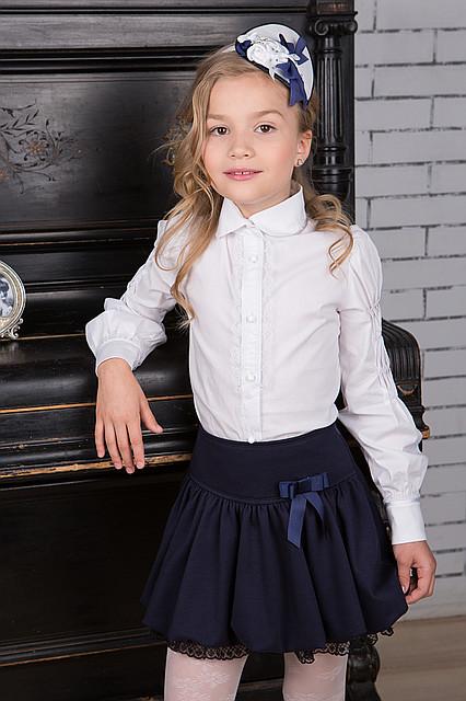 Юбка в школу для девочки с кружевом