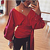 Шикарная блуза с декольте на запах и рукавом-фонариком, фото 2