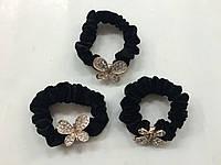 Резинки для волос с бабочкой, декорация -камушки  ( 3шт в упаковке)
