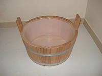 Шайка из лиственницы для сауны 16 л с пластиковой вставкой