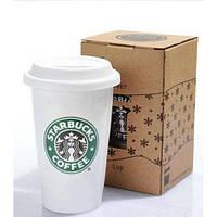 Термокружка Starbucks белая керамика