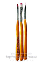Набор кистей для рисования, 3шт , оранжевая ручка