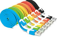 Кабель USB-micro USB 1 м плоский кольоровий, фото 1